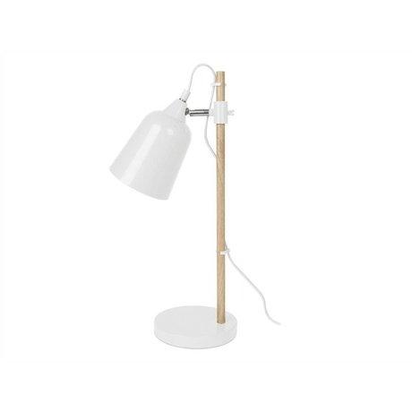 Leitmotiv Lampada da tavolo in legno-come 12x14x48,5cm metallo bianco