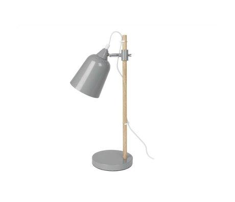 Leitmotiv Table lamp wood-like gray metal 12x14x48,5cm