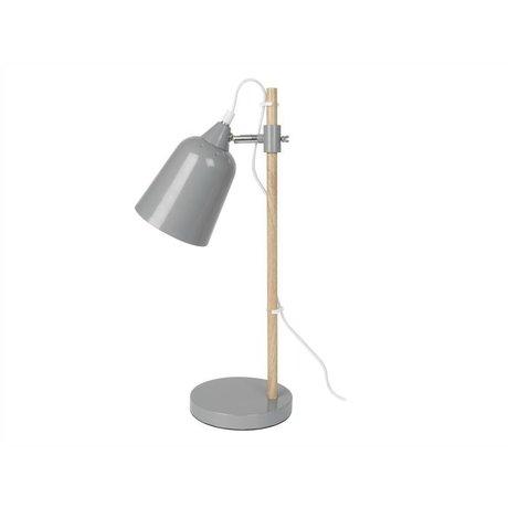 Leitmotiv Lámpara de mesa de madera como de metal gris 12x14x48,5cm