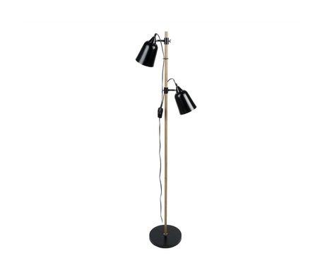 Leitmotiv Stehlampe Wood-Like 2 schwarz Metall  Ø15x14x149cm