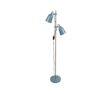 Leitmotiv Stehlampe Wood-Like 2 blau Metall 15x14x149cm