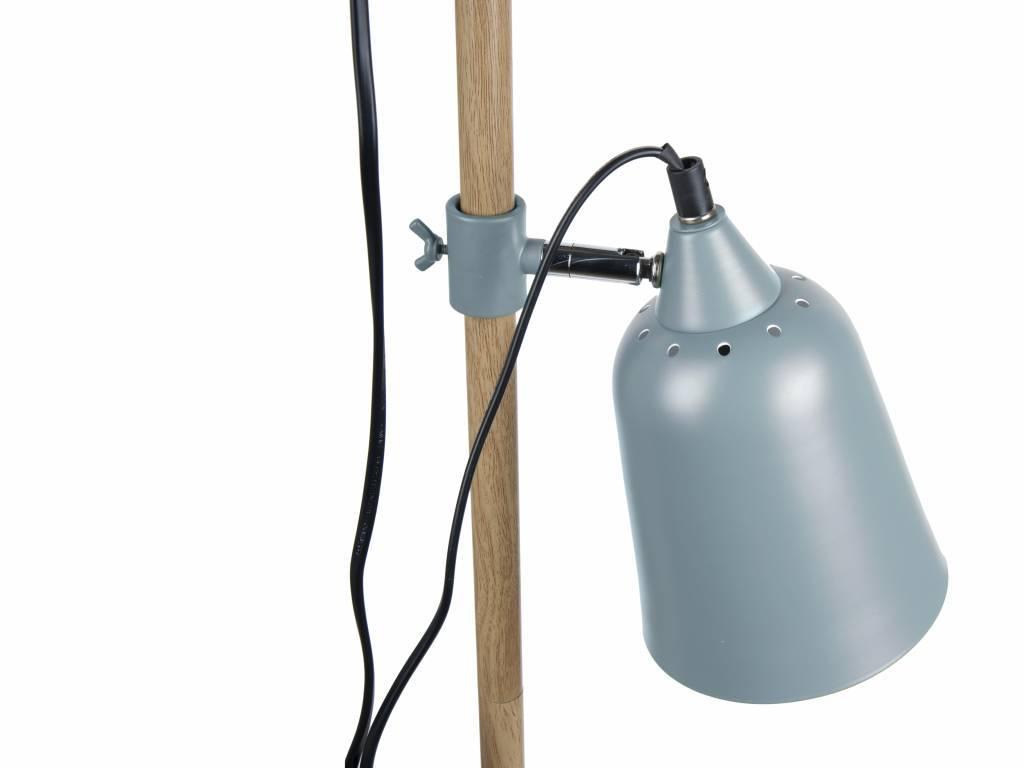 Leitmotiv lampada da terra in legno like 2 15x14x149cm metallo blu