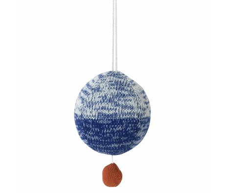 Ferm Living bola de algodón de punto móvil con la música azul Ø10cm