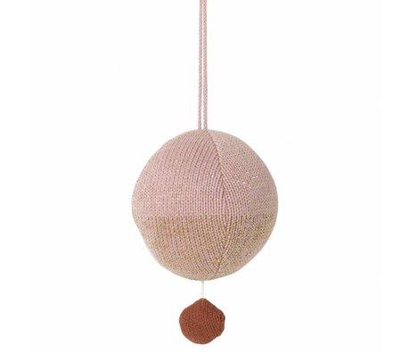 Ferm Living palla mobile maglia di cotone musicale rosa Ø10cm
