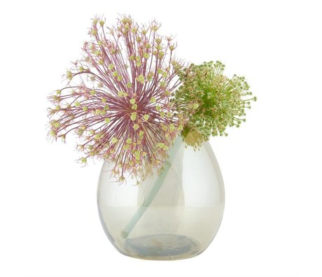 BePureHome Vase laiton moyen simple or antique 20x20x20cm en verre transparent