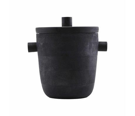 Housedoctor Weinkühler Eiskübel schwarz Mango Holz Ø20x22cm