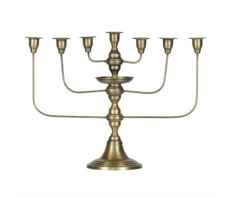 BePureHome Candlestick totem antique brass gold metal 46x58x18cm