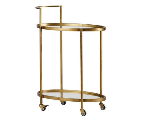 BePureHome Trolley push antique brass gold metal 86x67x35cm