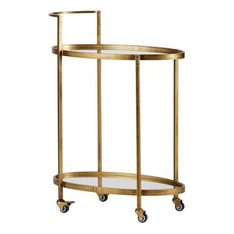 BePureHome Trolley spinta in ottone metallo 86x67x35cm oro antico