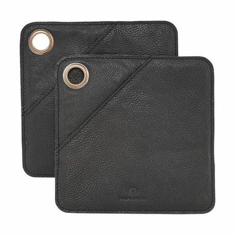 Housedoctor Potholders 2 pieces black leather 20.5x20.5cm
