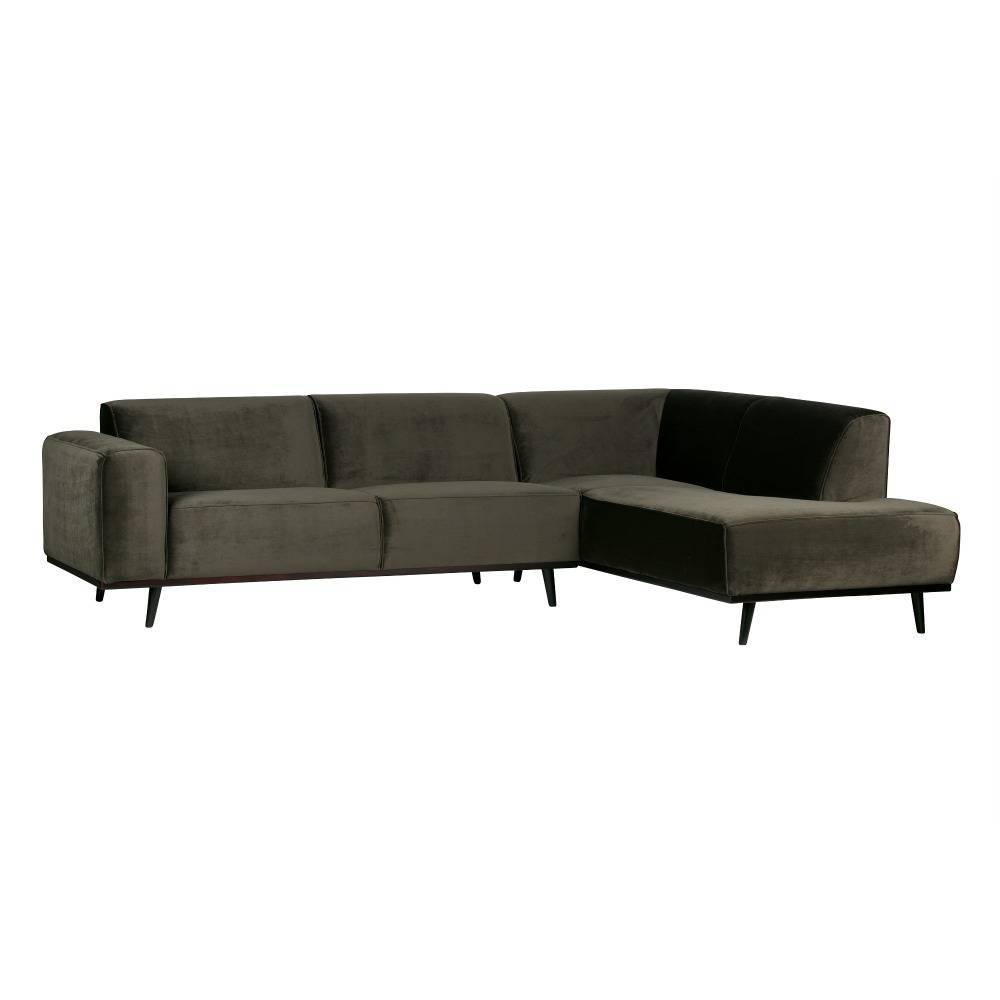 bepurehome sofa statement ecksofa rechts warm gr n samt 77x274x210cm. Black Bedroom Furniture Sets. Home Design Ideas