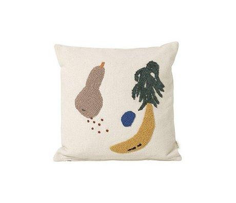 Ferm Living Coussin toile de coton crème de banane 40x40cm