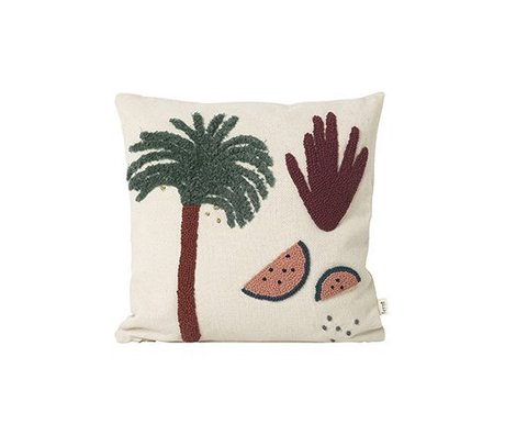 Ferm Living Cushions palm cream cotton canvas 40x40cm