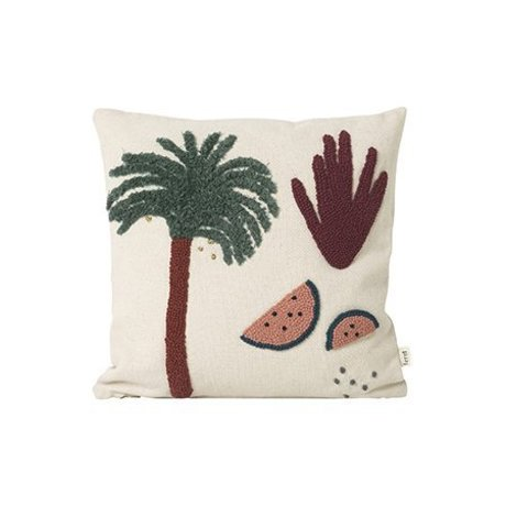 Ferm Living Cuscino Palm crema tela di cotone 40x40cm