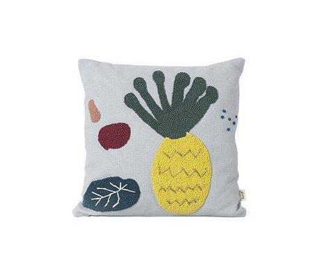 Ferm Living Coussin lumière ananas en toile de coton bleu 40x40cm