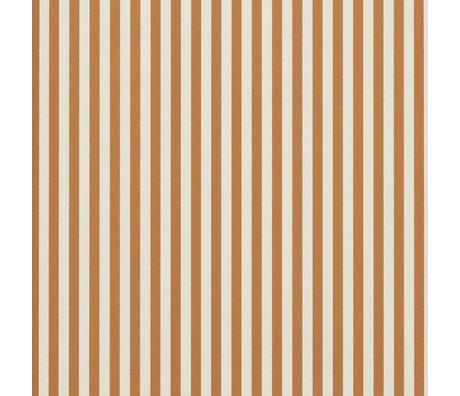 Ferm Living Tapet Tynde linjer okkergul creme hvid 53x1000cm