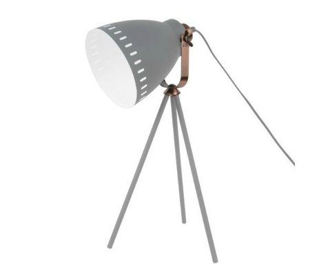 Leitmotiv Tablo lambası Mingle gri metal Ø16.5x54x31cm