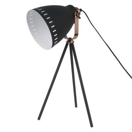 Leitmotiv Karıştırmak masa lambası siyah metal Ø16.5x54x31cm