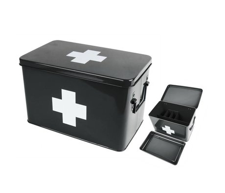 pt, Boîte de rangement pour médicaments black metal 31,5x19x21cm
