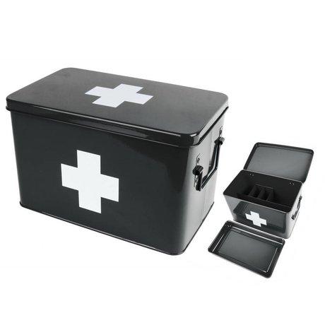 pt, Scatola portaoggetti per farmaci in metallo nero 31,5x19x21cm