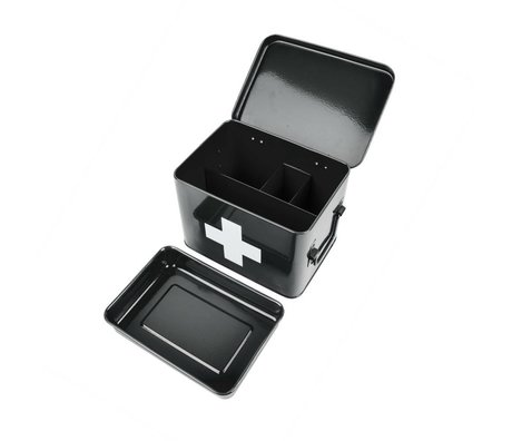 pt, Aufbewahrungsbox für Medikamente schwarz Metall 21,5x15,5x16cm