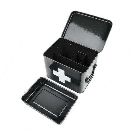 pt, Storage box for medication black metal 21,5x15,5x16cm