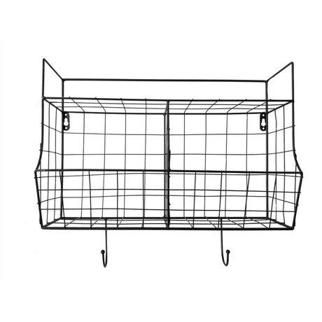 pt, Køkken hylde sort metal 24x15,5x46,5cm