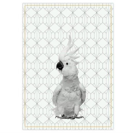 pt, Asciugapiatti Kakadu in cotone bianco nero 50x70cm