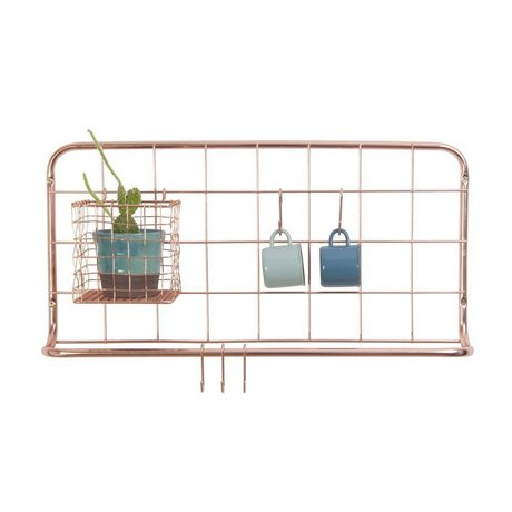 pt, Kitchen shelf copper colored iron 60x30x5cm