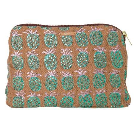 Ferm Living Kulturbeutel Salon Pineapple orange grün 22x15.5cm