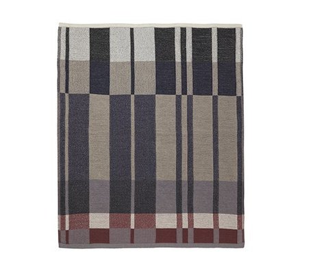 Ferm Living Decke Medley Knit Baumwolle dunkelblau 160x120cm