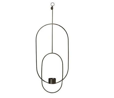 Ferm Living Teelichthalter Deco oval schwarz Metall 18.5x42x50cm
