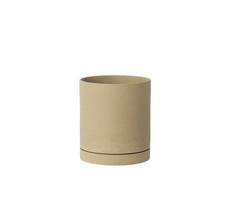 Ferm Living Pot à fleurs Sekki beige céramique grand Ø15,7x17,7cm