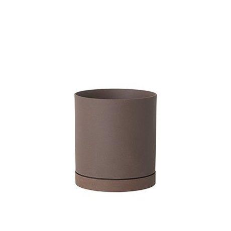 Ferm Living Pot de fleur Sekki rouge brun céramique grand Ø15,7x17,7cm