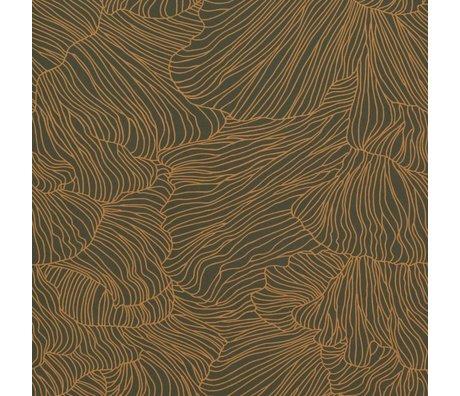 Ferm Living Tapet Coral mørkegrøn guld 53x1000cm
