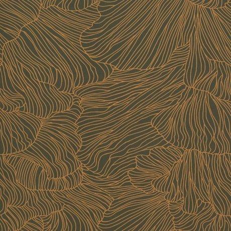 Ferm Living Fondo de Pantalla Coral oro verde oscuro 53x1000cm