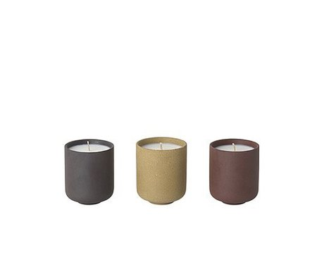 Ferm Living Duftkerzen Sekki Set aus 3 (Feigenduft) Ø5,5x6,5cm