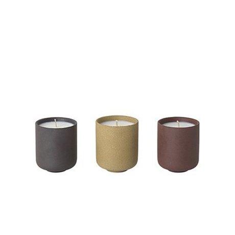 Ferm Living Bougies parfumées Sekki Lot de 3 (parfum de figues) Ø5,5x6,5cm