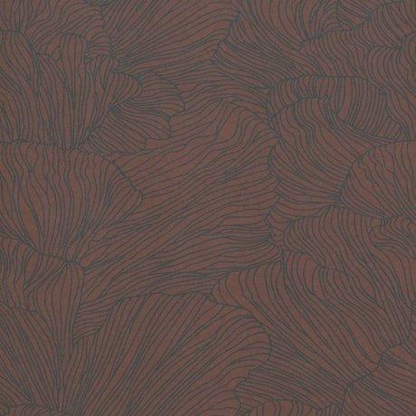 Ferm Living Baggrund Koral burgunder rød mørk blå 53x1000cm