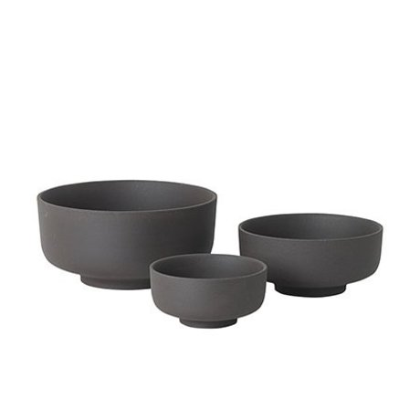 Ferm Living Skåle Sæt med 3 Sekki grå keramik