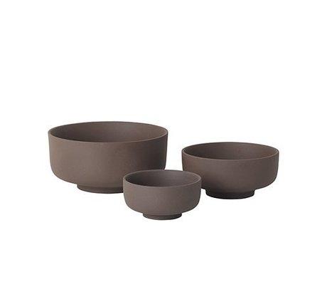 Ferm Living Skåle Sæt med 3 Sekki rødbrun keramik
