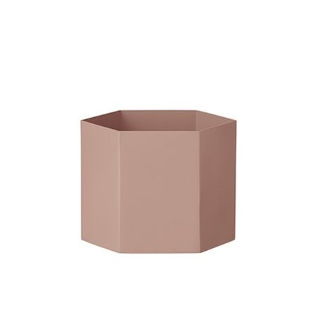 Ferm Living Pot Hexagon pink Ø18x14cm Ekstra stor