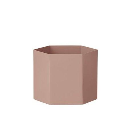 Ferm Living Pot Hexagone rose Ø18x14cm Extra large