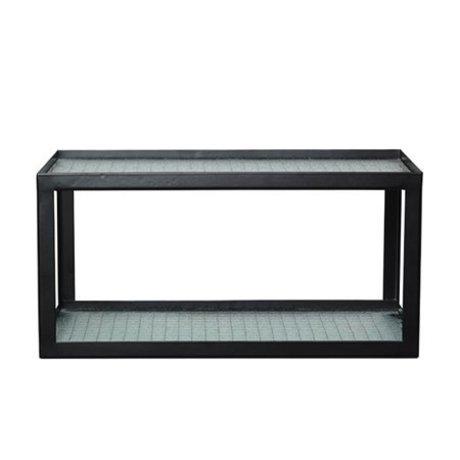 Ferm Living Vægkort Haze sort metalramme med trådglas 17x35x19cm