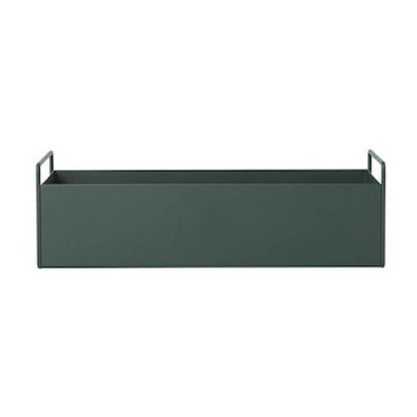 Ferm Living Boks til plante mørkegrøn metal S 45x14,5x17cm