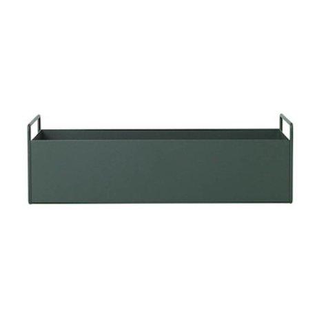 Ferm Living Box für Pflanze dunkelgrün Metall S 45x14,5x17cm