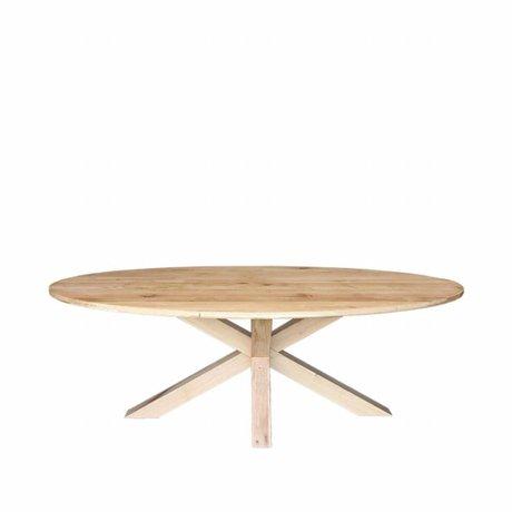 LEF collections Table à manger Mex chêne brun bois 220x110x76cm