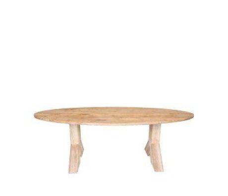 LEF collections Table à manger Mees brun chêne 210x110x76 cm