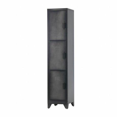 LEF collections Casier Cas 3 portes en métal noir 180x38x45,5cm