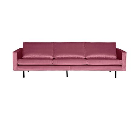 BePureHome Sofa Rodeo 3-sæders lyserød fløjl 85x277x86cm